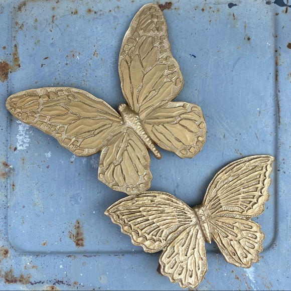 Vintage Gold Tone Butterfly Wall Decor